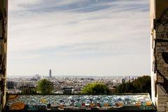 View on Paris from Belvédère de Belleville viewpoint. View on Paris from Belvédère de Belleville at Parc de Belleville Royalty Free Stock Image