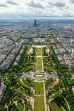 View of Paris, the Champ de Mars from the Eiffel tower Royalty Free Stock Photography