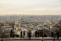 Paris city general view above. The view of Paris city from the up point on the Monmartre Hill royalty free stock photography