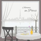 View of Paris cityscape from cafe window. royalty free illustration