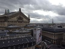 View of Paris on a cloudy day. The city of Paris as we see it from the terrace of a famous Departmente Store Stock Image