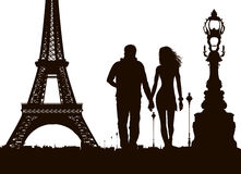 View of Paris and couple in love Stock Photography
