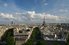 View of Paris and the Eiffel Tower. Aerial View of Paris and the Eiffel Tower Royalty Free Stock Images