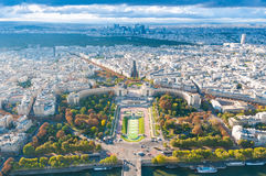 View of Paris from the Eiffel tower. Stock Photo