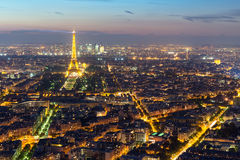 View of Paris with the Eiffel tower from the Montparnasse tower Royalty Free Stock Images