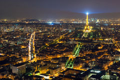 View of Paris with the Eiffel Tower at night Stock Images