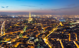 View of Paris with the Eiffel Tower at night Royalty Free Stock Photos