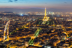 View of Paris with the Eiffel Tower at night Royalty Free Stock Image
