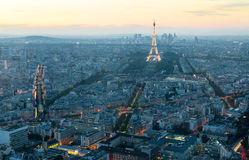 View of Paris with the Eiffel tower at sunset Stock Image