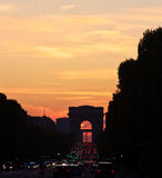 L'Arc de Triomphe at Sunset Stock Photography