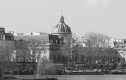 The view of Paris and French Academy. Stock Image