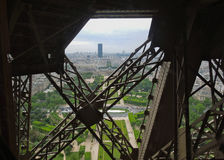 Eiffel Tower View Paris through iron grid Stock Photo