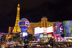 View of the Paris Las Vegas hotel and casino at night, LAS VEGAS, USA Stock Images