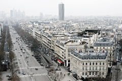 View on Paris, Les Champs Elysees. View on Paris from Arc de Triomphe. Les Champs Elysees Royalty Free Stock Photography