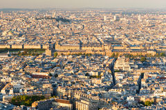 View of Paris. Louvre in the center. Stock Photo