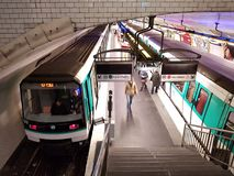 Louis Blanc metro station in Paris. View on Paris metro station Louis Blanc in the 10th arrondissement Entrepot, with train serving line 7bis on the left, and royalty free stock photo