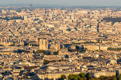 View of Paris from the Montparnasse Tower at sunset Stock Photos