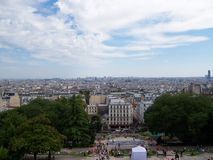 View of Paris from the mountains to the Sacre Coeur Basilica in summer day stock photos