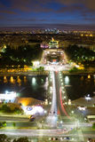 View of Paris  at night. View of Paris from the Eiffel tower at night Stock Photo