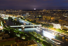 View of Paris at night. View of Paris from the Eiffel tower at night Stock Image