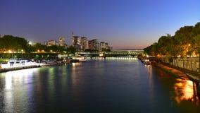 View of Paris night scape along La Seine river Stock Image