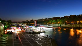 View of Paris night scape along La Seine river Royalty Free Stock Photo