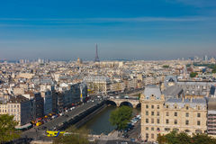 View of Paris from Notre Dame cathedral Stock Photography