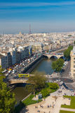 View of Paris from Notre Dame cathedral Royalty Free Stock Image