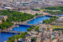 View of Paris, Pont Alexandre III and Place de la. View of Paris, Pont Alexandre III, Luxor Obelisk and Place de la Concorde from the Eiffel tower Stock Image