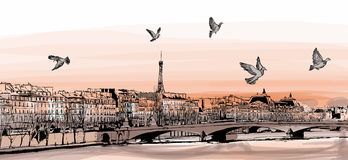 View of Paris from Pont des arts. Vector illustration Stock Photography