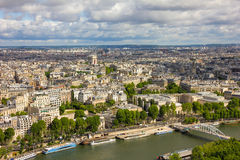 View of Paris, river Seine, Arc de Triomphe from the Eiffel towe Royalty Free Stock Images