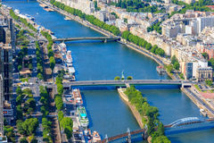 View of Paris, river Seine from Notre Dame cathedr Royalty Free Stock Image
