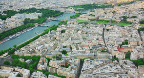View of Paris and Seine with height of Eiffel Tower Royalty Free Stock Photography