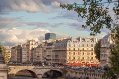 View of Paris and the Seine. View of Quai des Grands Augustins and Saint Michel bridge, Paris Royalty Free Stock Photo