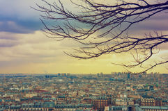 View of Paris from the square of the Sacre Coeur. stock photography