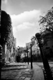 View of Paris streets - B&W. View of Paris streets - Montmartre, low view angle, pavement, black and white shot stock photo