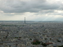 View of Paris. A view taken at the top of Sacre Coeur in Paris, of Paris including the effiel tower Stock Images