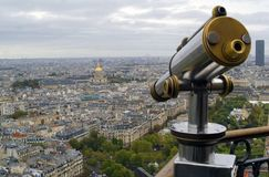 View of Paris and Telescope Stock Image