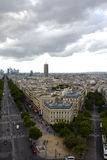 View of Paris from the top of Arc de Triomphe. Paris city view from the top of Arc de Triomphe Royalty Free Stock Image