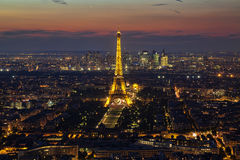 View of the Paris and Tower Eiffel. The Eiffel tower is the most visited monument of France Royalty Free Stock Photography