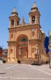 The view of the parish church in the Marsaxlokk fishing village, Stock Photo