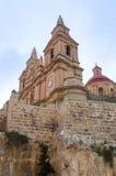 View of Parish Church. Mellieha, Malta stock photography