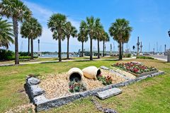 A park with a view of the Matanzas River and the Bridge of Lions in Historic St. Augustine, Florida USA. This is a view of a park along the Matanzas River with a Stock Photography