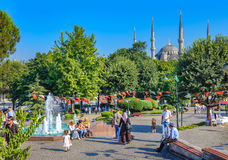 View of a park and blue mosque behind it, Turkey royalty free stock photos