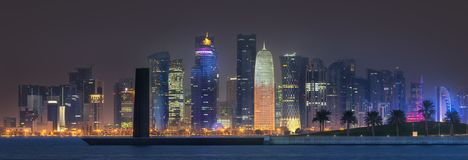 View of park and building in Doha City Center royalty free stock photography