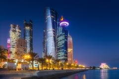 View of park and building in Doha City Center. At night, Qatar Stock Image