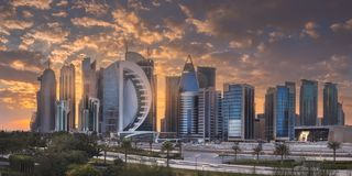 View of park and building in Doha City Center royalty free stock photo