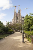 View from the park of the Cathedral of the Holy Family (Sagrada Familia) in Barcelona, Spain Royalty Free Stock Images
