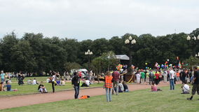 View park crowd people stock video footage