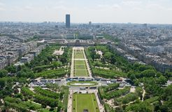 View of Park du Champ de Mars from the Eiffel tower Stock Photography